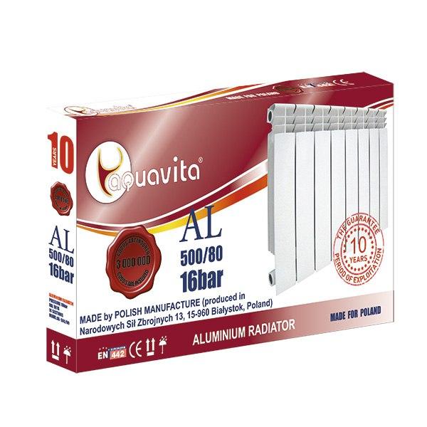Секция литого радиатора алюминиевого AQUAVITA 500/80 NEW, 16 бар
