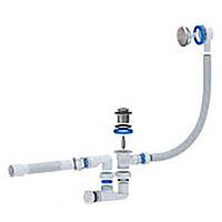 Сифон АНИ-ПЛАСТ для ванны АНИ клик клак с выпуском и переливом, регулируемый (ЕС255)