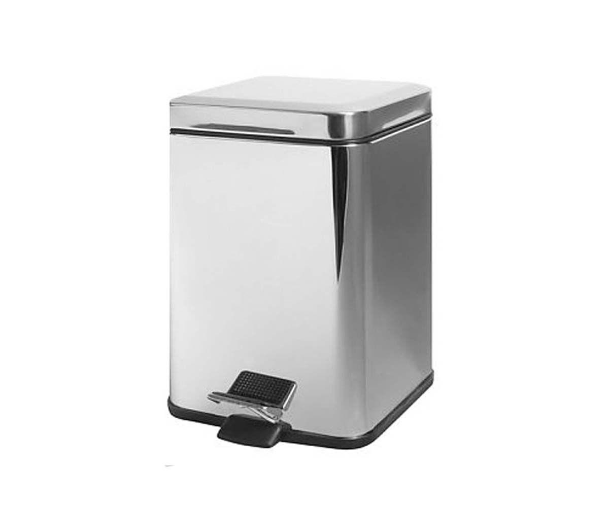 Ведро для мусора BISK 6 л, хром, квадратное (00122)