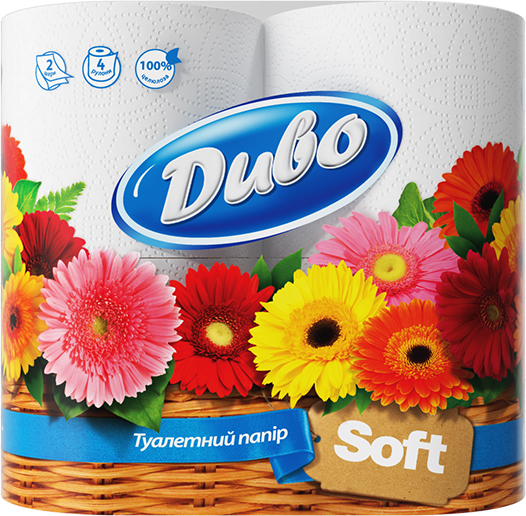 Туалетная бумага Диво Soft на гильзе 4 рулона, белая