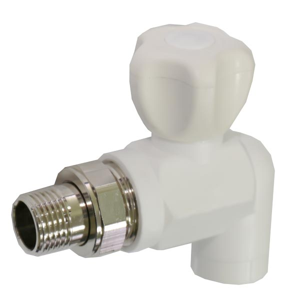 Кран радиаторный PP-R SANTAN угловой шаровый с нак.гайкой 20х1/2