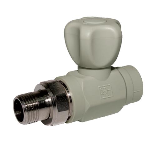 Кран радиаторный PP-R SANTAN прямой шаровый с нак.гайкой 20х1/2