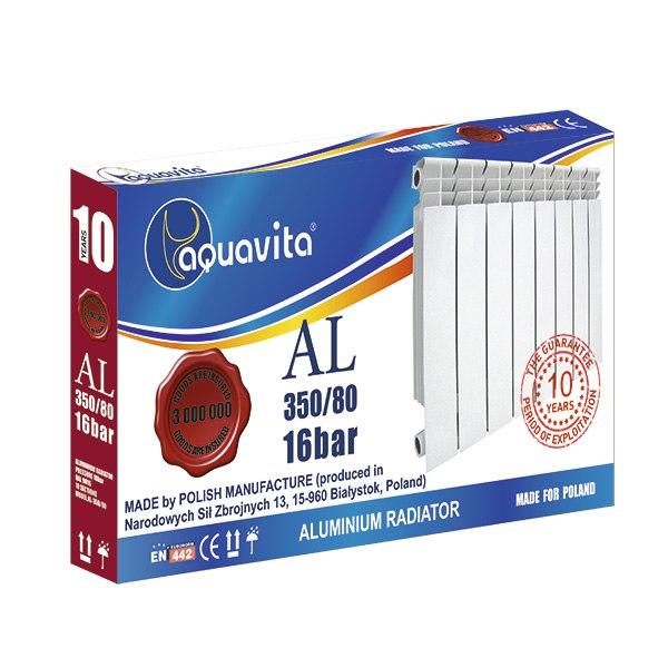 Секция литого радиатора алюминиевого AQUAVITA 350/80, 16 бар