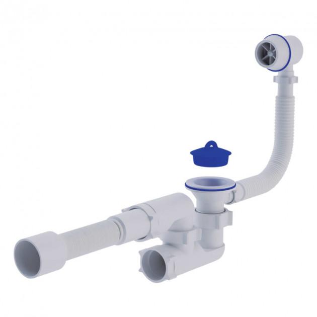 Сифон АНИ-ПЛАСТ Варяг для ванны с переливом и гибкой трубкой регулируемый d40/50 (С6255)
