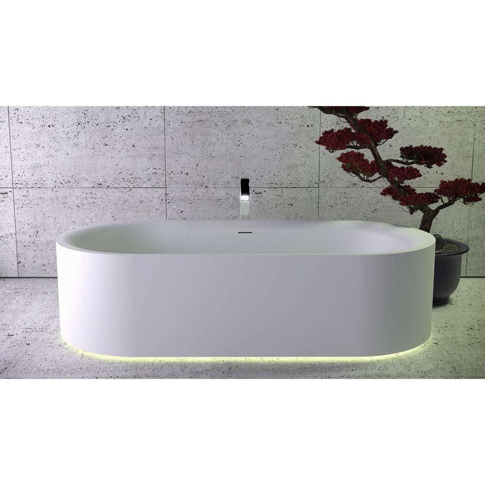 Ванна из искусственного камня Knief K-Stone Moon 190х90 отдельностоящая с интегрированной LED подсветкой, WhiteMatt (060003001)